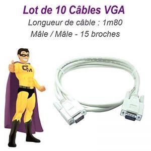 N.C. Lot x10 Cbles VGA SUB-D 15 Broches Mle-Mle 1m80 Ecran PC Vidéoprojecteur Neuf de la marque N.C. image 0 produit