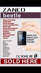 Neuf 2017Zanco Beetle écran tactile Smart Phone 2G Mondes Plus Petit le plus fin Smart Mobile 12voix Changers MP3Noir débloqué CE RoHS WCDMA et GSM Plastique Vendu par téléphone portable 4U Ltd de la marque ZANCO image 0 produit