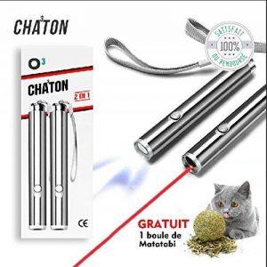 O³ Jouet interactif Chat - 2 Poiteur lumineux + 1 boule de Matatabi Cadeau - Lampe Led 2 en 1 - Exercices pour chat - Norme CE de la marque O³ image 0 produit