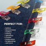 Okaytec Set 61 pcs Clips Pinces en Plastique pour Reliure Couture Artisanat Couleurs Assorties – 60 Pinces de Reliure Multiusage, Accessoires Multicolores pour Couture, Artisanat, Broderie – Plus un Mètre en Ruban de 1.5m de la marque Okaytec image 4 produit
