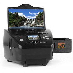 oneConcept 179B Scanner pour numérisation de diapos et films négatifs • Solution pour scanner sans ordinateur • Pour films 35 mm et photos 9 x 13, 10 x 15 et 13 x 18 cm • Jusqu'à 10 MP par interpolation • Éclairage avec 3/14 LED lumineuses blanches de la image 0 produit