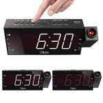 """OnLyee 7"""" LED Dimmable Projecteur Horloge Radio-Réveil avec FM,Port de Recharge USB,Double Alarme,Batterie de Secours,Minuterie De Sommeil de la marque OnLyee image 3 produit"""