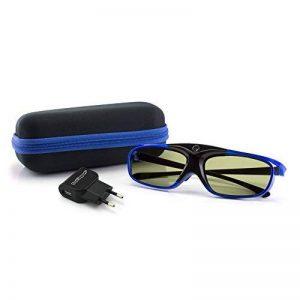"""Pack de 1 paire de lunettes 3D actives DLP-LINK """"Hi-Shock"""" avec étui à lunettes de rangement + chargeur USB - Lunettes 3D dernière génération pour vidéoprojecteur DLP (Acer®, BenQ®, Optoma®…) de la marque A3B Technologies image 0 produit"""