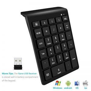 Pavé numérique sans fil, Clavier numérique sans fil Rytaki Portable 2.4G avec plusieurs raccourcis - clavier numérique 28 touches avec récepteur nano pour ordinateur portable, ordinateur de bureau, Surface pro, Macbook et plus - noir de la marque Rytaki image 0 produit
