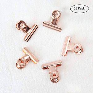 Petit Bulldog trombones, Coideal 30 Pack 1 pouce liant métallique Clips dossier colliers de papier-monnaie pour les sacs de Tags, boutiques, bureau et cuisine à domicile (Or Rose, 22mm) de la marque Coideal image 0 produit