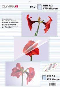 Pochettes de plastification à chaud, DIN A2, 175 microns, 25 pochettes tansparentes de la marque Olympia image 0 produit