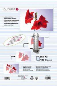 Pochettes de plastification à chaud, DIN A3, 125 microns, 50 pochettes tansparentes de la marque Olympia image 0 produit
