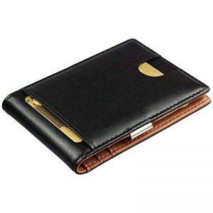 Porte-monnaie intelligent avec pince à billets en cuir véritable - porte-monnaie avec protection rfid, porte-cartes de crédit avec pince à billets, porte-monnaie pour hommes, porte-monnaie pour hommes de la marque SG ZERO image 0 produit