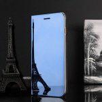 pour Galaxy S7 Edge Housse de protection, CrazyLemon PU cuir + PC Date Heure Clear View Miroir brillant debout couverture avec béquille Wake Up et fonction de sommeil Smart Housse de protection pour Samsung Galaxy S7 Edge G9350 - Bleu de la marque CrazyLe image 1 produit