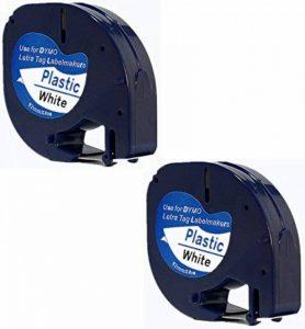 Printing Pleasure 91201Plastique 12mm x 4m Label Tapes pour DYMO LetraTag LT-100H/LT-100T/Lt-110t/QX 50/XR/XM/2000/Plus étiqueteuses–Noir sur Blanc (lot de 10) -P Lot de 2 Noir sur blanc de la marque Printing Pleasure image 0 produit