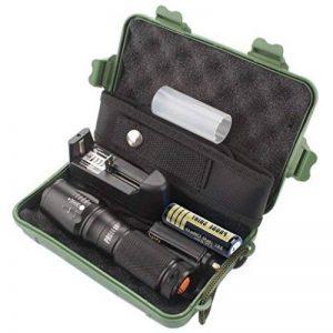 Probe Shiny 5000 Lumens Tactical LED CREE XM-L T6 Lampe de poche de police X800 Zoom Super Bright militaire de grade étanche titulaire Torche 5 Modes+batterie 18650(1pcs)+Chargeur Unique+Pochette en nylon+Étui de protection de la marque PROBE SHINY image 0 produit