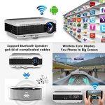 Projecteur HD Smart Vidéoprojecteurs Android 6.0 WiFi LED, 5000 lumens Bluetooth 4.0, Soutien 1080P, HDMI, USB, VGA, Sans Fil 5.8in TFT Extérieur Vidéoprojecteur Home Cinema Gaming TV ArtWork, 10W HiFi Haut-Parleur de la marque WIKISH image 1 produit
