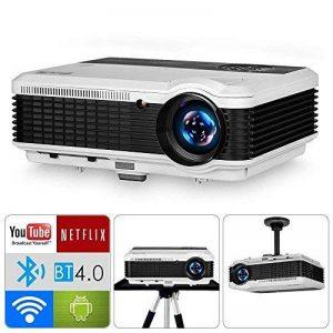 Projecteur HD Smart Vidéoprojecteurs Android 6.0 WiFi LED, 5000 lumens Bluetooth 4.0, Soutien 1080P, HDMI, USB, VGA, Sans Fil 5.8in TFT Extérieur Vidéoprojecteur Home Cinema Gaming TV ArtWork, 10W HiFi Haut-Parleur de la marque WIKISH image 0 produit