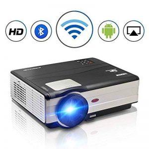Projecteur LED sans fil WiFi Bluetooth, 4000 lumens LCD Support HD 1080P HDMI, Jeux vidéo Cinéma maison cinéma, pour ordinateur portable Mac iPhone TV(Manuel anglais et UK Plug) de la marque CAIWEI image 0 produit
