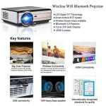 Projecteur LED sans fil WiFi Bluetooth, 4000 lumens LCD Support HD 1080P HDMI, Jeux vidéo Cinéma maison cinéma, pour ordinateur portable Mac iPhone TV(Manuel anglais et UK Plug) de la marque CAIWEI image 1 produit
