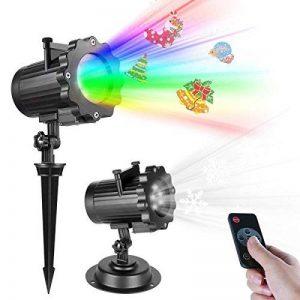 Projecteur Noël LED Extérieur Lampe Lumière avec télécommande RF minuterie automatique de marche / arrêt, étanche LED Paysage Spot Lampes d'atmosphère Effet de Vidéoprojecteur Lumière … de la marque TTKTK image 0 produit