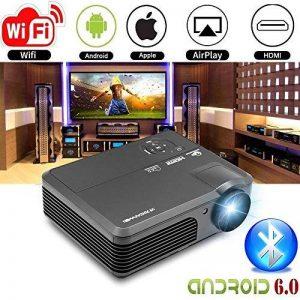 Projecteur sans fil Wifi Bluetooth 4200 Lumens (2017 mise à jour), Portable HD LED Projecteur 1080p Soutien, Cinéma numérique Home Cinéma Projecteur Intérieur Film extérieur avec HDMI USB TV Audio AV Ports(Manuel anglais et UK Plug) de la marque CAIWEI image 0 produit