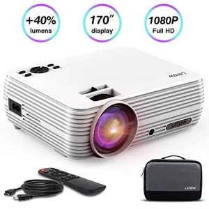 Projecteur Vidéo, LATOW X8 Vidéoprojecteur Full HD 1080P projecteur vidéo mini 170 Pouces Image Grand Portable Home Cinéma multimédia HDMI / TF / VGA / AV / USB pour Smartphone / Laptop / TV / Incl HDMI, Blanc de la marque LATOW image 0 produit