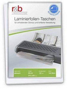 R & B FT de A4–125S plastifier Format A4–216x 303mm, 2x 125mic avec dos autocollantes, lot de 100 de la marque R&B image 0 produit
