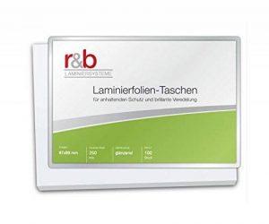 R & B FT de Ba de 250plastification Badge, 67x 99mm, 2x 250microns, lot de 100 de la marque R&B image 0 produit