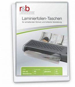 R & B Lot de 25pochettes de plastification 80 microns, format A3, 303x 426mm de la marque R&B image 0 produit