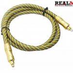 Realmax® Maille de nylon câble Toslink 1m 2m 3m 4m 5m 10m Audio Numérique Optique Doré de qualité premium Prend en charge tous les appareils compatibles Toslink et gadgets de la marque REALMAX® - UK image 1 produit