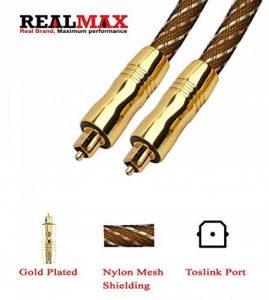 Realmax® Maille de nylon câble Toslink 1m 2m 3m 4m 5m 10m Audio Numérique Optique Doré de qualité premium Prend en charge tous les appareils compatibles Toslink et gadgets de la marque REALMAX® - UK image 0 produit