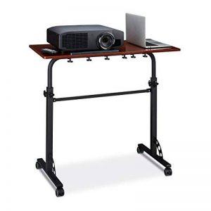 Relaxdays Table Ordinateur Portable Hauteur réglable Roues Table Bout de canapé Lit Bois- Rouge- HxlxP : 110 x 100 x 50 cm de la marque Relaxdays image 0 produit