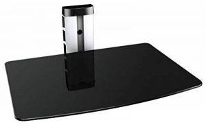 RICOO Meuble TV Design DVD-S1 Unité Support mural etagere 1 en verre suspension LED LCD Plasma QE OLED 3D 4K Smart socle de tele écran suspendu téléviseurs rack universel hauteur réglable en Argent de la marque RICOO image 0 produit