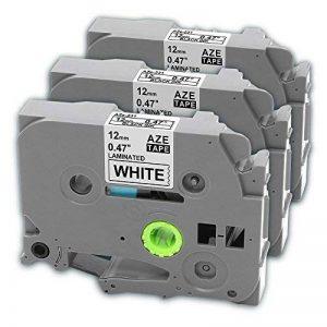 Ruban cassette laminé TZe-231 TZ231, Cassette à cartouche tape, Ruban pour étiqueteuse, Noir sur Blanc, 12 mm x 8m, Compatible Brother P-Touch 1000W 1010 1090 1830VP 2030VP 2100VP 2430PC 2470 2730VP 7100 VP7600VP H100R H300 D200VP (3 Pack) de la marque Ma image 0 produit