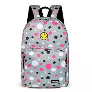 """Sac à dos étudiant 15.6 """"Laptop Kids Enfants Polka Dots Cute Smile Face Primaire Junior School Grey Bookbag Sac à dos Sac à dos Sac à dos , pour les filles de la marque ADVOCATOR image 0 produit"""