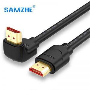 Samzhe câble HDMI coudé à 90degrés, HDMI 2.0Câble HDMI vers HDMI mâle vers mâle connecteur plaqué or câble vidéo Prend en charge UHD 4K * 2K 60GHz 3d 18Gbps haute vitesse pour vidéoprojecteur, lecteur Blu-Ray, HD TV, Roku, Xbox360, PS3, PS4, Apple T image 0 produit