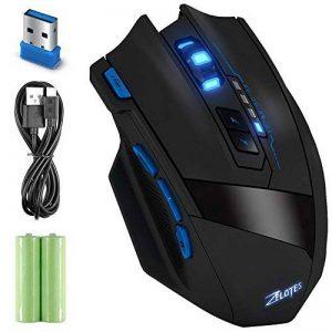 Sans fil Gaming Mouse, 9 boutons 4 niveaux réglable DPI 2,4 GHz Jeu souris optique rechargeable souris Zelotes (Genre) F15 sans fil/filaire de souris pour ordinateur portable PC calcul pour ordinateur portable Mac avec de la marque Kinnara image 0 produit