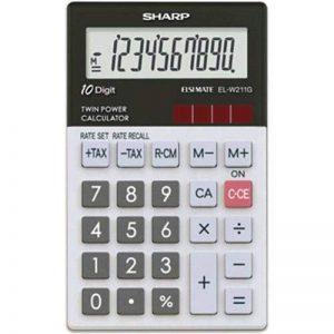 Sharp EL-W211G Poche Calculatrice basique Noir, Blanc calculatrice - Calculatrices (Poche, Calculatrice basique, 10 chiffres, 1 lignes, Batterie/Solaire, Noir, Blanc) de la marque Sharp image 0 produit