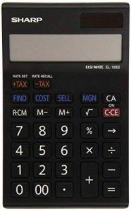 Sharp Electronics EL128RWH Calculatrice 12 chiffres avec option conversion de monnaie Noir/blanc de la marque Sharp image 0 produit