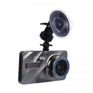 Springdoit Enregistreur de conduite de vision nocturne de haute définition de 4 pouces, enregistreur de conduite de voiture DVR, enregistrement de cycle de détection dynamique durable HD1080P à double lentille avant et après l'image d'inversion de double image 0 produit