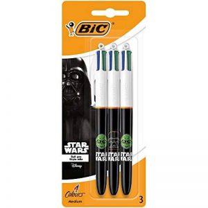 Star Wars BIC 4 Couleurs Stylos-Billes - Corps Noirs Assortis, Blister de 3 de la marque BIC image 0 produit