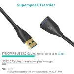 Syncwire Cable Rallonge USB 3.0 2M Extension Câble USB Mâle vers Femelle Chargement et Données à 5Gbps pour Clé USB,Hub USB,Disque Dur Externe,Clavier,Souris,Imprimante,Manette de Jeu,Webcam - Noir de la marque Syncwire image 1 produit