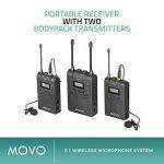 Système de micro-cravate sans fil Movo WMIC80 UHF avec 2 émetteurs de poche, récepteur portable, 2 micros cravates et support de griffe pour caméras DSLR (gamme 100m) de la marque Movo image 2 produit