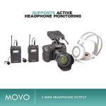 Système de micro-cravate sans fil Movo WMIC80 UHF avec 2 émetteurs de poche, récepteur portable, 2 micros cravates et support de griffe pour caméras DSLR (gamme 100m) de la marque Movo image 3 produit