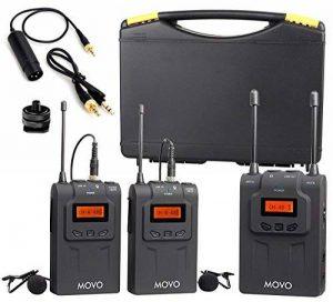 Système de micro-cravate sans fil Movo WMIC80 UHF avec 2 émetteurs de poche, récepteur portable, 2 micros cravates et support de griffe pour caméras DSLR (gamme 100m) de la marque Movo image 0 produit