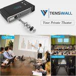 """Tenswall Vidéoprojecteur, 3800 Lumens Mini DLP Projecteur 1280x800 Soutien 1080P, 4K, DLPLink3D, 12000:1, Max300"""" Cinéma Maison avec Android 4.4 OS Double Bande Wi-Fi HDMI USB AV AirPlay Bluetooth pour Tablette de Téléphone Portable de Présentation de l image 1 produit"""