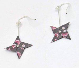 The cocotte Boucles d'oreille Papier Origami Tourniquet Rose Gris f de la marque The cocotte image 0 produit