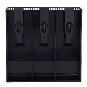 Tiroir-caissier Registre Insertion Plateau Plastique(3 compartiments pour Factures, 3 compartiments pour Pièces de monnaies) Boîte de rangement d'argent 9,6 x 9,6 x 1,4 pouces(Noir) de la marque Hilitand image 0 produit