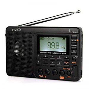 Tivdio V-115 Radio Portable FM Stéréo SW AM Lecteur MP3 Carte SD/TF Enregistreur Vocal Fonction Sommeil (Noir) de la marque Tivdio image 0 produit