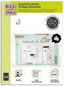 Toga D.I.Y with Pochettes Plastification sans Plastifieuse A4, Autre, Transparent, 24 x 26.5 x 0.5 cm de la marque Toga image 0 produit