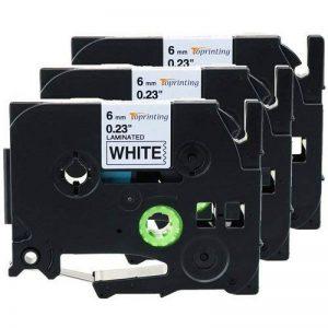 Toprinting 3 x Rubans Laminé pour Etiqueteuse Brother TZe-211 / TZ-211 / Noir sur Blanc / 6mm x 8m Compatible pour Brother P-Touch 1000W 1010 1090 1830VP 2030VP 2100VP 2430PC 2470 2730VP 7100 VP7600VP H100R H300 D200VP et Autres P-Touch Étiqueteuse de la image 0 produit
