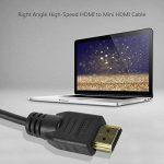 UCEC Câble Mini HDMI vers HDMI Plaqué or 24K, Angle Droit Adaptateur Spirale HDMI Haute Définition, Compatible avec Ethernet, VIDÉOS 3D, Résolution 1080, Projecteurs, Caméras, PS3, PS4, Xbox One, Xbox 360, lecteurs Blu-ray, Apple TV, DVD, 1.5 mètres de la image 4 produit