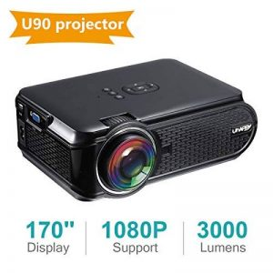 UKSoku U90 Mini Portable Projecteur HD 1080P 3000 lumens LED Vidéoprojecteur Micro Home Theater Support 1080P Movies Games iPhone Android Smartphone PC Laptop TV Box PS4 xbox360 HDMI USB SD (Black) de la marque UKSoku image 0 produit