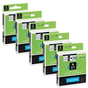 Unistar 5 x D1 45013 S0720530 12mm x 7m Noir sur Blanc Remplace Ruban Dymo D1 Dymo LM 160 210D 260P 360D 420P 450D 500TS Wireless PnP, LP 100 150 200 250 300 350, LW 400 Duo 450 Duo de la marque Unistar image 0 produit